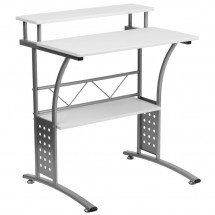 Flash Furniture NAN-CLIFTON-WH-GG Clifton White Computer Desk