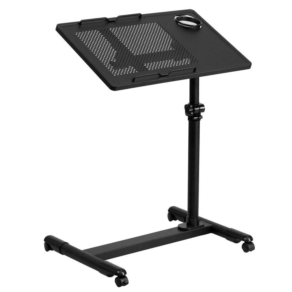 Flash Furniture NAN-JG-06B-BK-GG Black Adjustable Height Steel Mobile Computer Desk
