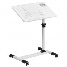 Flash Furniture NAN-JG-06B-WH-GG White Adjustable Height Steel Mobile Computer Desk