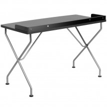 Flash Furniture NAN-JN-2116-BK-GG Black Computer Desk with Silver Frame