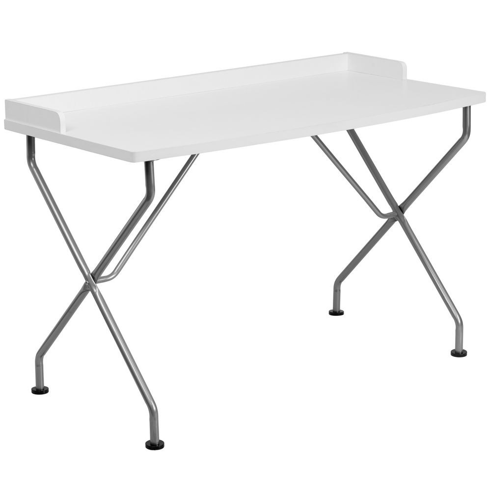 Flash Furniture NAN-JN-2116-WH-GG White Computer Desk with Silver Frame