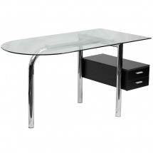 Flash Furniture NAN-JN-2118-GG Glass Computer Desk with Two Drawer Pedestal