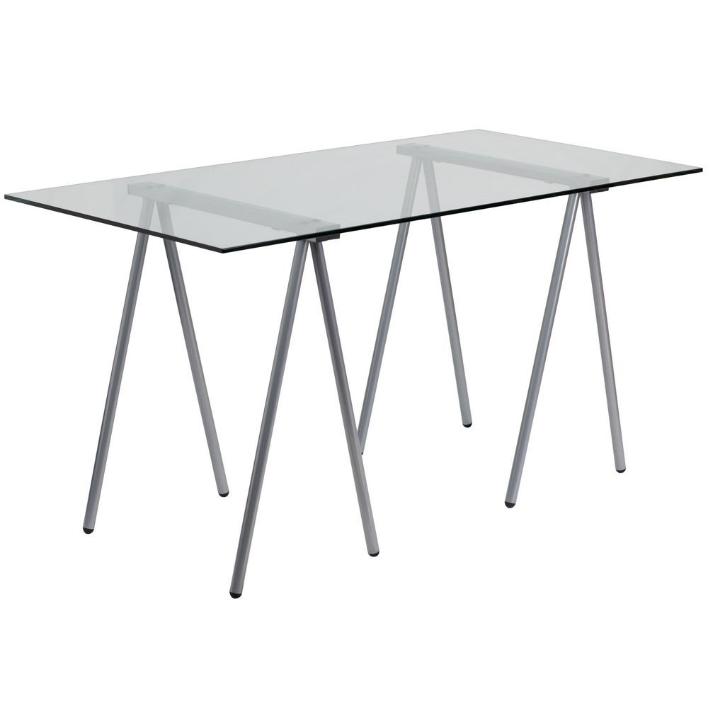 Flash Furniture NAN-JN-2119-GG Glass Computer Desk with Silver Frame