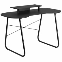Flash Furniture NAN-JN-2360-MT-BK-GG Black Computer Desk with Monitor Stand with Black Frame