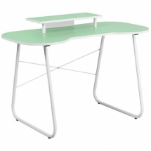 Flash Furniture NAN-JN-2360-MT-GN-GG Green Computer Desk with Monitor Stand with White Frame