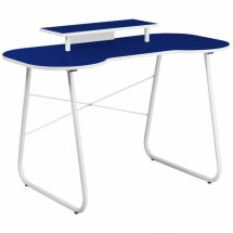 Flash Furniture NAN-JN-2360-MT-NY-GG Navy Computer Desk with Monitor Stand and White Frame