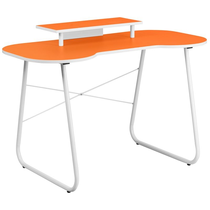 Flash Furniture NAN-JN-2360-MT-OR-GG Orange Computer Desk with Monitor Stand and White Frame