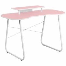 Flash Furniture NAN-JN-2360-MT-PK-GG Pink Computer Desk with Monitor Stand with White Frame