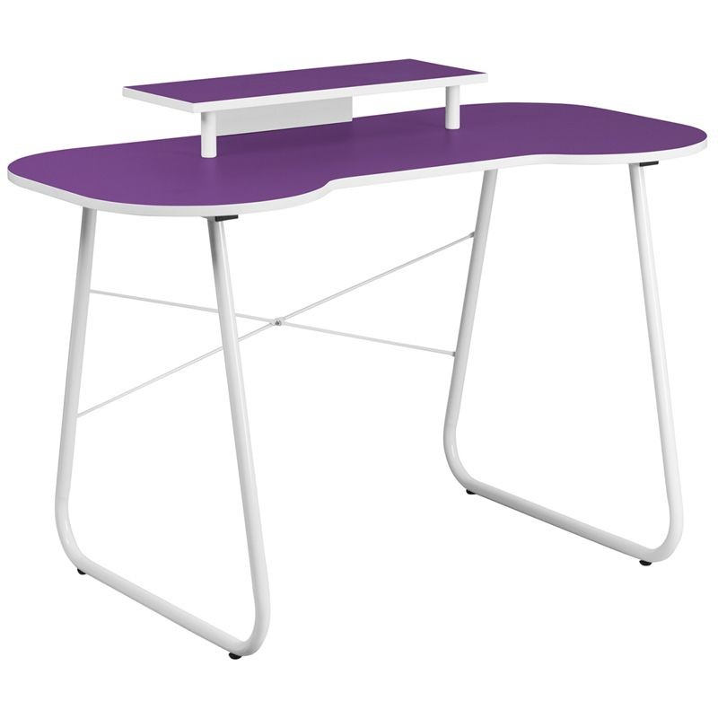 Flash Furniture NAN-JN-2360-MT-PU-GG Purple Computer Desk with Monitor Stand and White Frame
