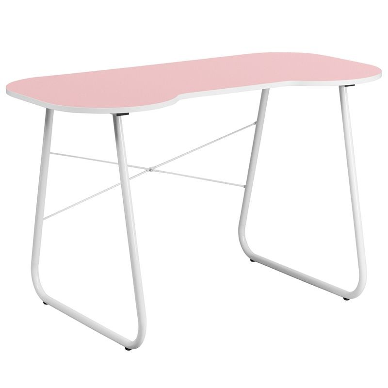 Flash Furniture NAN-JN-2360-PK-GG Pink Computer Desk with White Frame