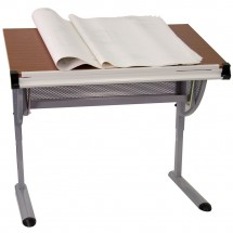 Flash Furniture NAN-JN-2433-GG Adjustable Drawing and Drafting Table with Pewter Frame