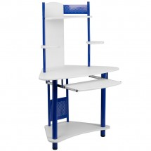 Flash Furniture NAN-JN-2705-BL-GG Blue Corner Computer Desk with Hutch