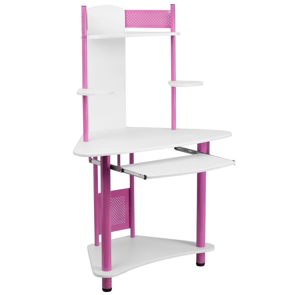 Flash Furniture NAN-JN-2705-PK-GG Pink Corner Computer Desk with Hutch
