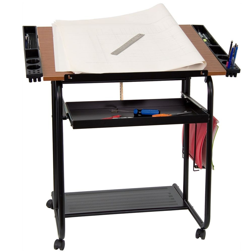 Flash Furniture NAN-JN-2739-GG Adjustable Drawing and Drafting Table with Black Frame and Dual Wheel Casters