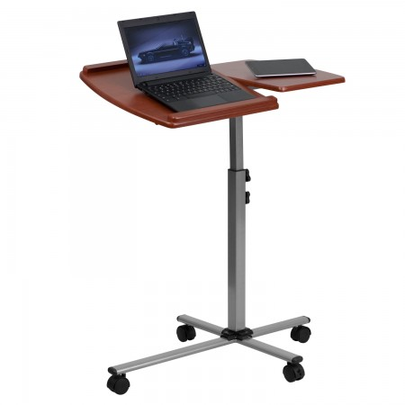 Flash Furniture NAN-JN-2762-GG Angle and Height Adjustable Mobile Laptop Computer Table with Cherry Top
