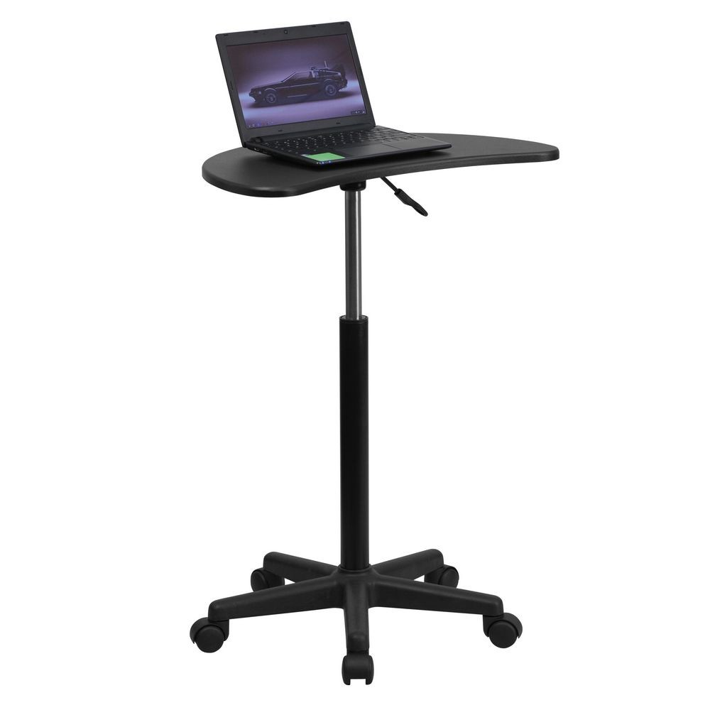 Flash Furniture NAN-JN-2792-GG Height Adjustable Mobile Laptop Computer Desk with Black Top