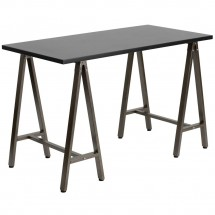 Flash Furniture NAN-JN-2834W-BK-GG Black Computer Desk with Brown Frame