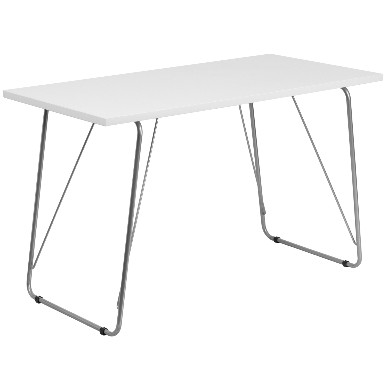 Flash Furniture NAN-JN-2956-WH-GG White Computer Desk with Silver Frame