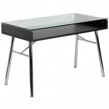 Flash Furniture NAN-JN-2966-GG Brettford Computer Desk with Tempered Glass Top