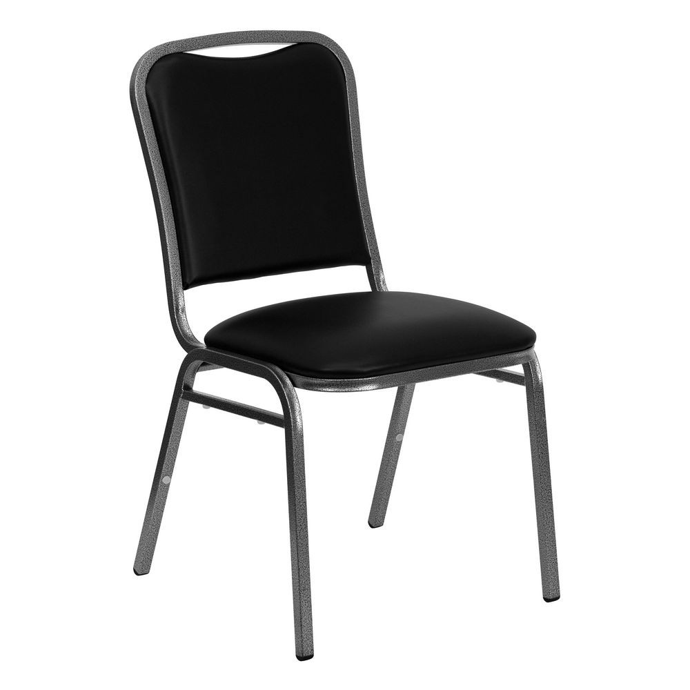 Flash Furniture NG-108-SV-BK-VYL-GG HERCULES Series Stacking Banquet Chair with Black Vinyl Seat - Silver Vein Frame