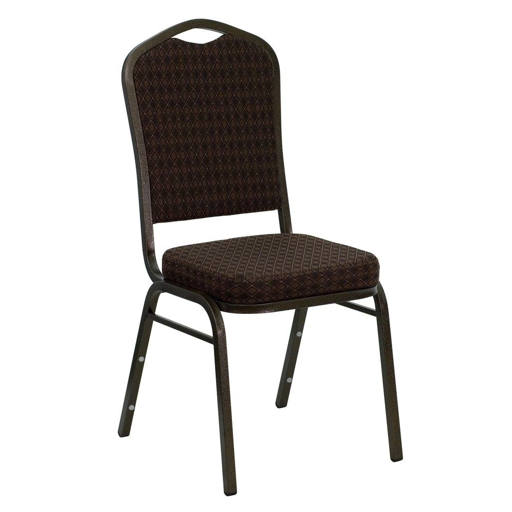 Flash Furniture NG-C01-BROWN-GV-GG HERCULES Series Crown Back Stacking Banquet Chair with Brown Patterned Fabric - Gold Vein Frame