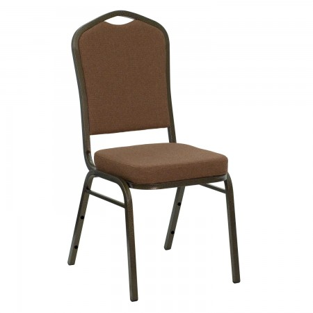 Flash Furniture NG-C01-COFFEE-GV-GG HERCULES Series Crown Back Stacking Banquet Chair with Coffee Fabric - Gold Vein Frame