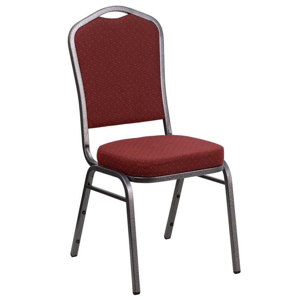 Flash Furniture NG-C01-HTS-2201-SV-GG HERCULES Crown Back Stacking Banquet Chair with Burgundy Patterned Fabric � Silver Vein Frame