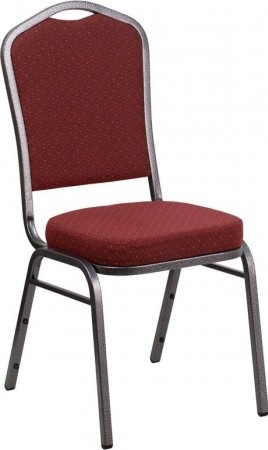 Flash Furniture NG-C01-HTS-2201-SV-GG HERCULES Crown Back Stacking Banquet Chair with Burgundy Patterned Fabric - Silver Vein Frame