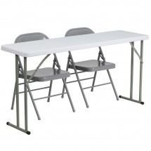 "Flash Furniture RB-1860-1-GG Plastic Folding Training Table with 2 Gray Metal Folding Chairs 18"" x 60"""