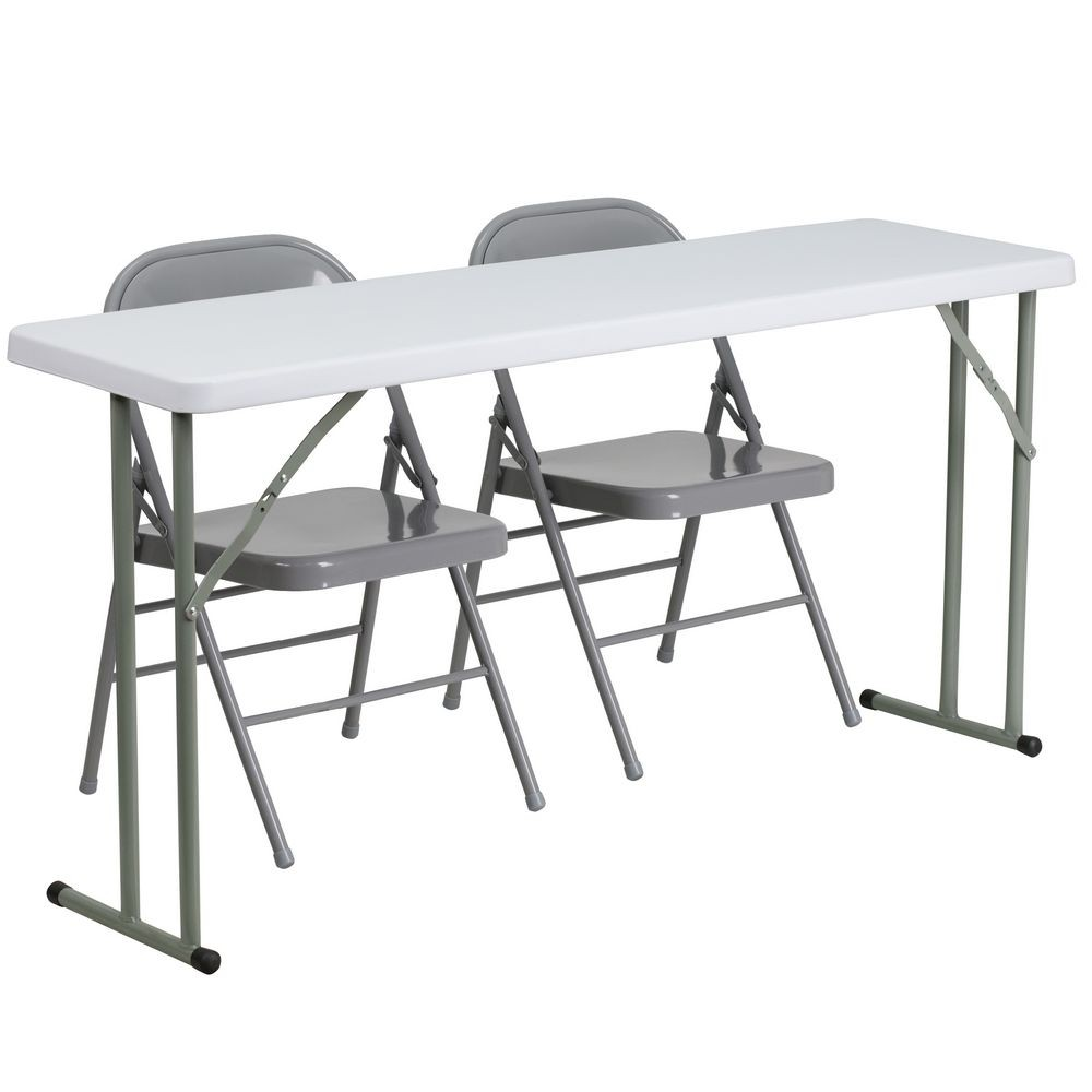 Flash Furniture RB-1860-1-GG  18'' x 60'' Plastic Folding Training Table with 2 Gray Metal Folding Chairs