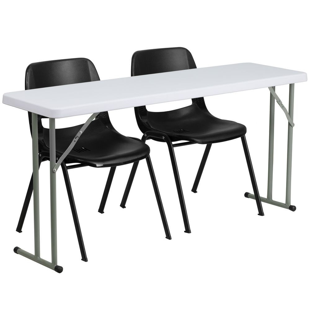 Flash Furniture RB-1860-2-GG Plastic Folding Training Table with 2 Black Plastic Stack Chairs 18&quot x 60""