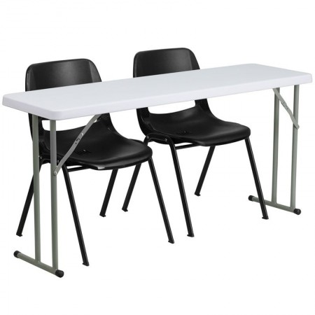 "Flash Furniture RB-1860-2-GG Plastic Folding Training Table with 2 Black Plastic Stack Chairs 18"" x 60"""