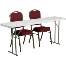 "Flash Furniture RB-1872-1-GG Plastic Folding Training Table with 2 Crown Back Stack Chairs 18"" x 72"""