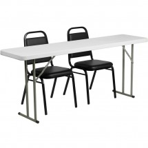 "Flash Furniture RB-1872-2-GG Plastic Folding Training Table with 2 Trapezoidal Back Stack Chairs 18"" x 72"""
