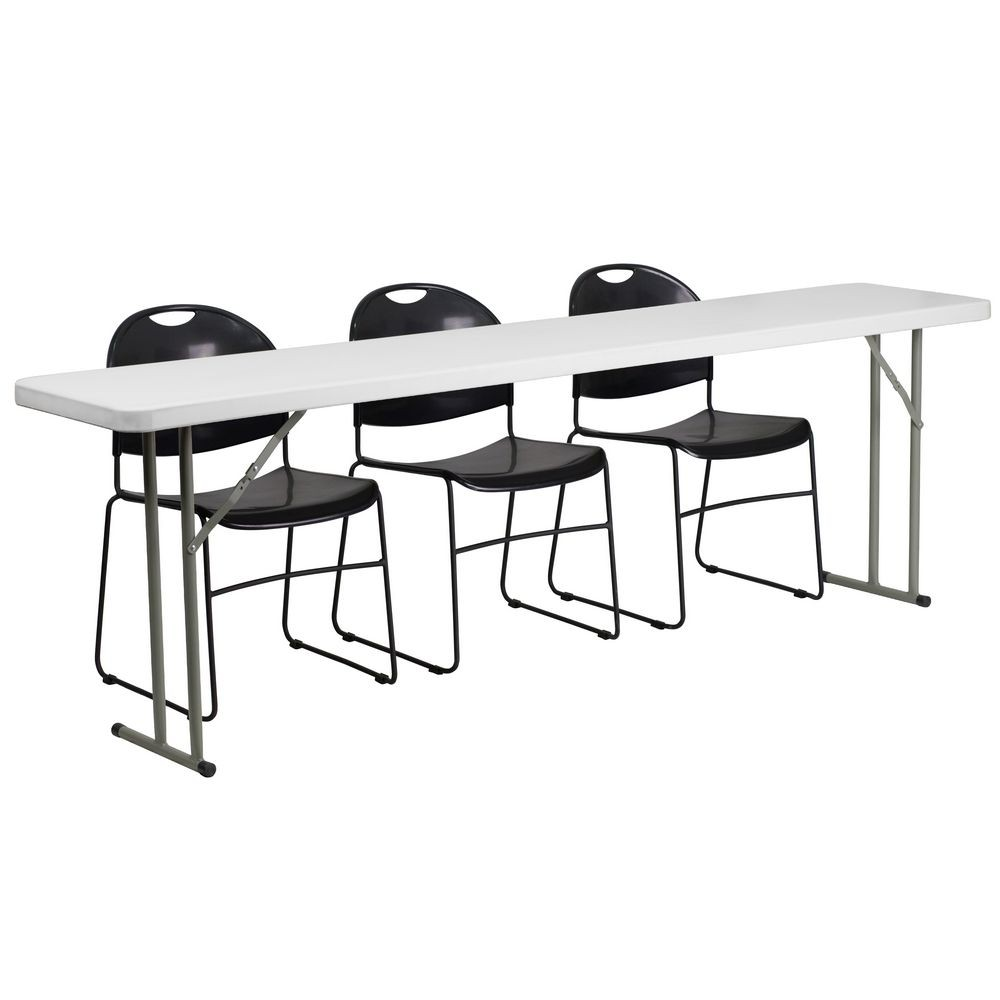 "Flash Furniture RB-1896-1-GG Plastic Folding Training Table with 3 Black Plastic Stack Chairs 18"" x 96"""