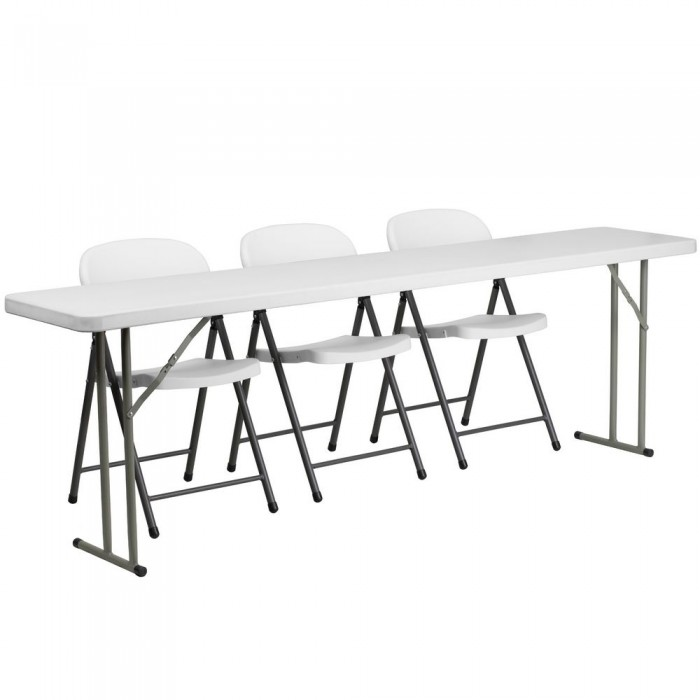 White Plastic Folding Chairs.Flash Furniture Rb 1896 2 Gg Plastic Folding Training Table With 3 White Plastic Folding Chairs 18 X 96