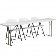 "Flash Furniture RB-1896-2-GG Plastic Folding Training Table with 3 White Plastic Folding Chairs 18"" x 96"""
