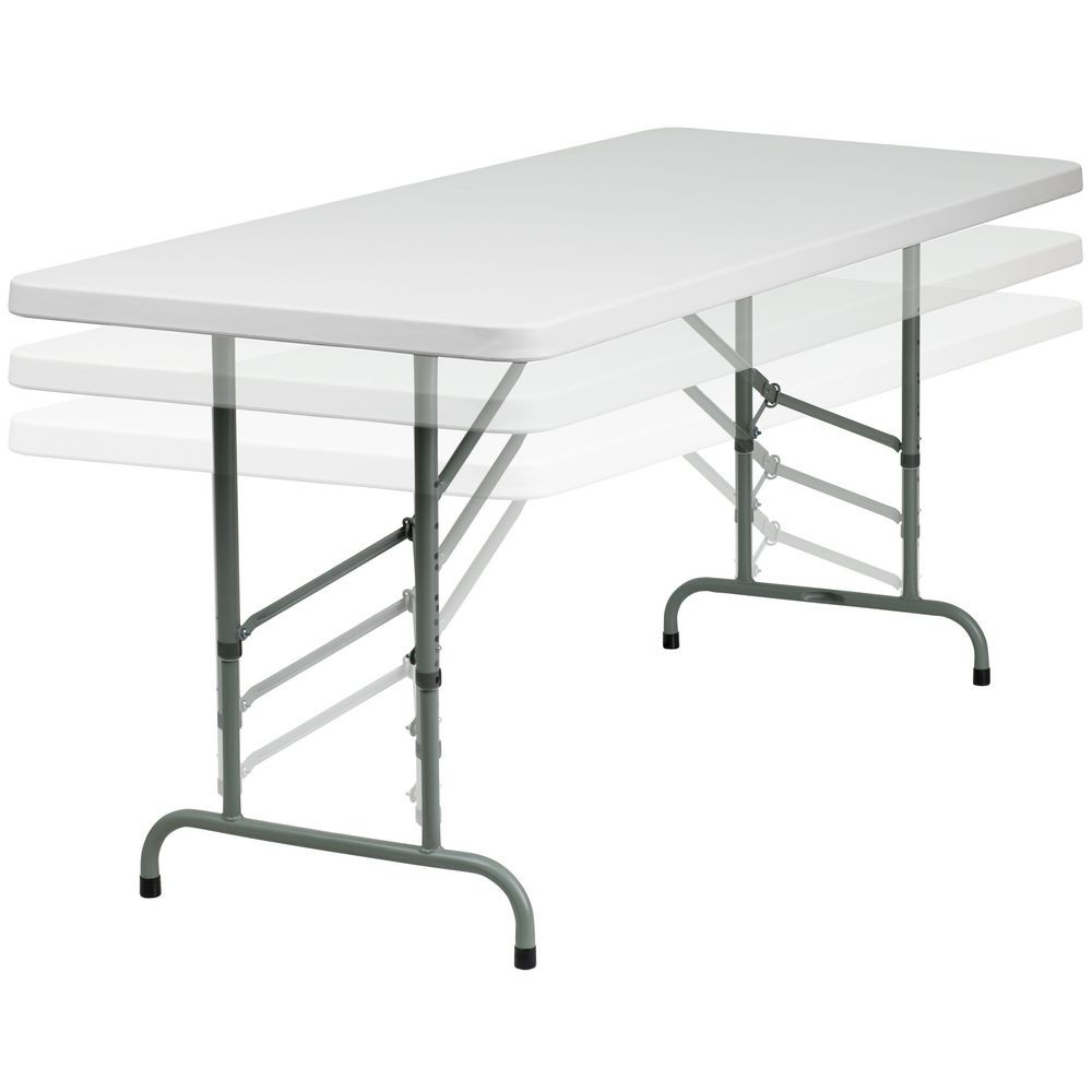 Flash Furniture RB-3072ADJ-GG 30'' x 72'' Height Adjustable Granite White Plastic Folding Table