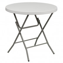 Flash Furniture RB-32R-GW-GG 32'' Round Granite White Plastic Folding Table