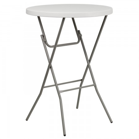 Flash Furniture RB-32RB-BAR-GW-GG 32'' Round Granite White Plastic Bar Height Folding Table