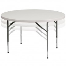 Flash Furniture RB-48-ADJUSTABLE-GG Round Height Adjustable Granite White Plastic Folding Table 48""