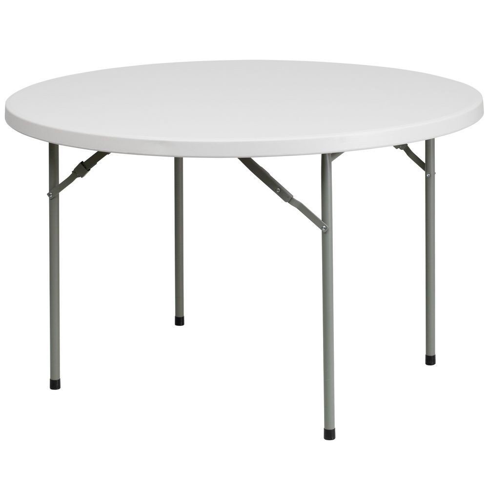 Flash Furniture RB-48R-GG Round Granite White Plastic Folding Table 48""