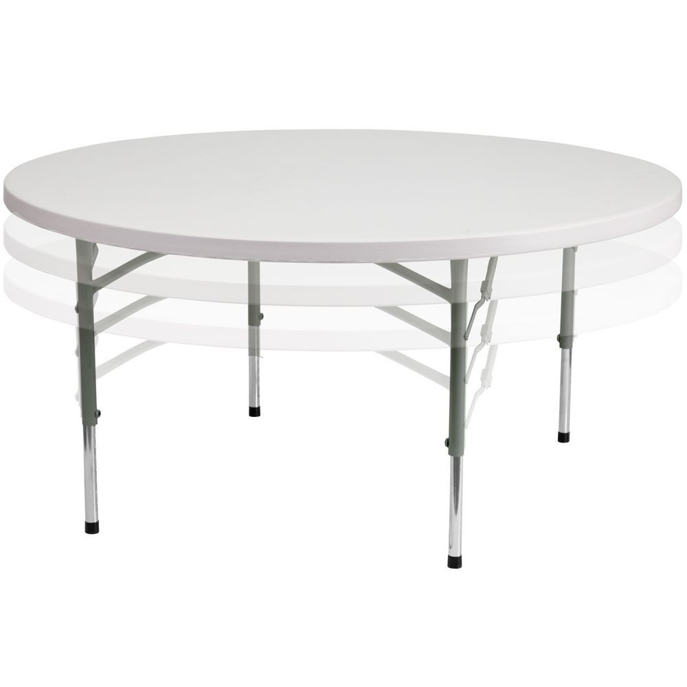 Flash Furniture RB-60-ADJUSTABLE-GG Round Height Adjustable Granite White Plastic Folding Table 60""