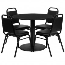 "Flash Furniture RSRB1001-GG 36"" Round Black Laminate Table Set with 4 Black Trapezoidal Back Banquet Chairs"