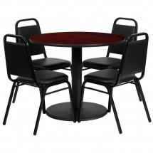 Flash Furniture RSRB1002-GG 36'' Round Mahogany Laminate Table Set with 4 Black Trapezoidal Back Banquet Chairs