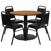 "Flash Furniture RSRB1003-GG 36"" Round Natural Laminate Table Set with 4 Black Trapezoidal Back Banquet Chairs"