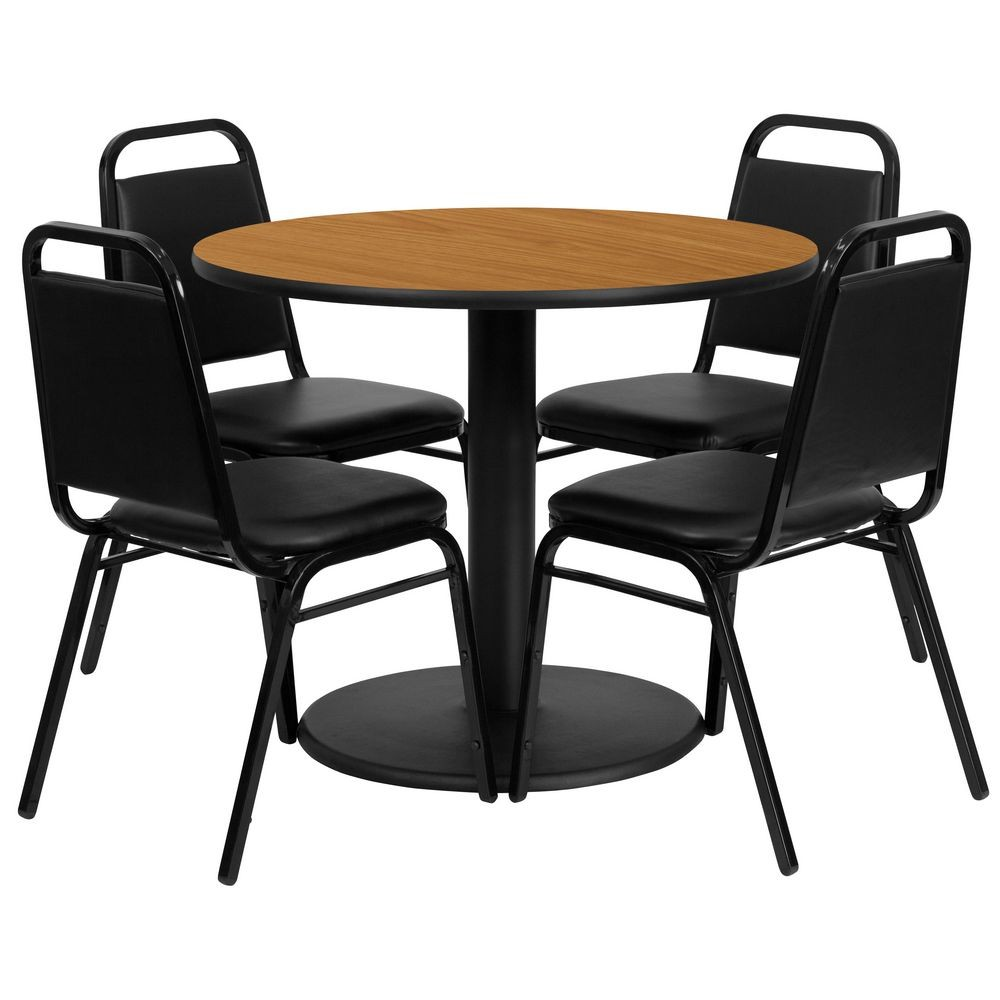 Flash Furniture RSRB1003-GG 36'' Round Natural Laminate Table Set with 4 Black Trapezoidal Back Banquet Chairs