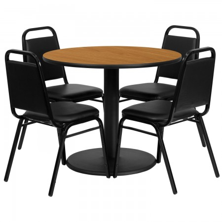 """Flash Furniture RSRB1003-GG 36"""" Round Natural Laminate Table Set with 4 Black Trapezoidal Back Banquet Chairs"""