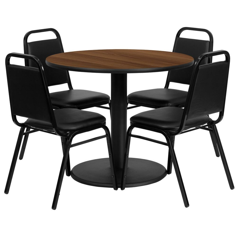 "Flash Furniture RSRB1004-GG 36"" Round Walnut Laminate Table Set with 4 Black Trapezoidal Back Banquet Chairs"