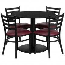 Flash Furniture RSRB1005-GG 36'' Round Black Laminate Table Set with 4 Ladder Back Metal Chairs - Burgundy Vinyl Seat